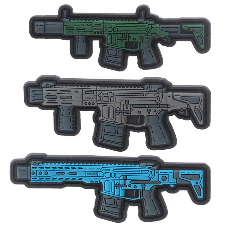 Custom Color 3D Gun Logo Soft PVC Rubber Moral Tactical Patches for Amy Military Uniform Clothing