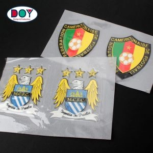 Custom Embossed Football Club Logo TPU Patches Badges for Sportswear