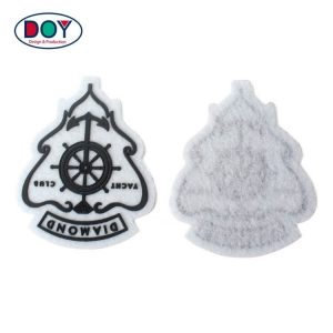 Embossed Custom 3D Logo Silicon Felt Patch Label  For Clothing