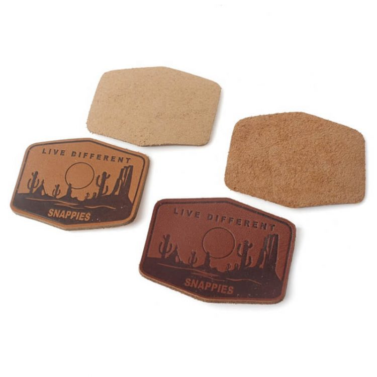 High Quality New Design Custom Embossed Brand Logo Recyclable Real Leather Patches for Backpack