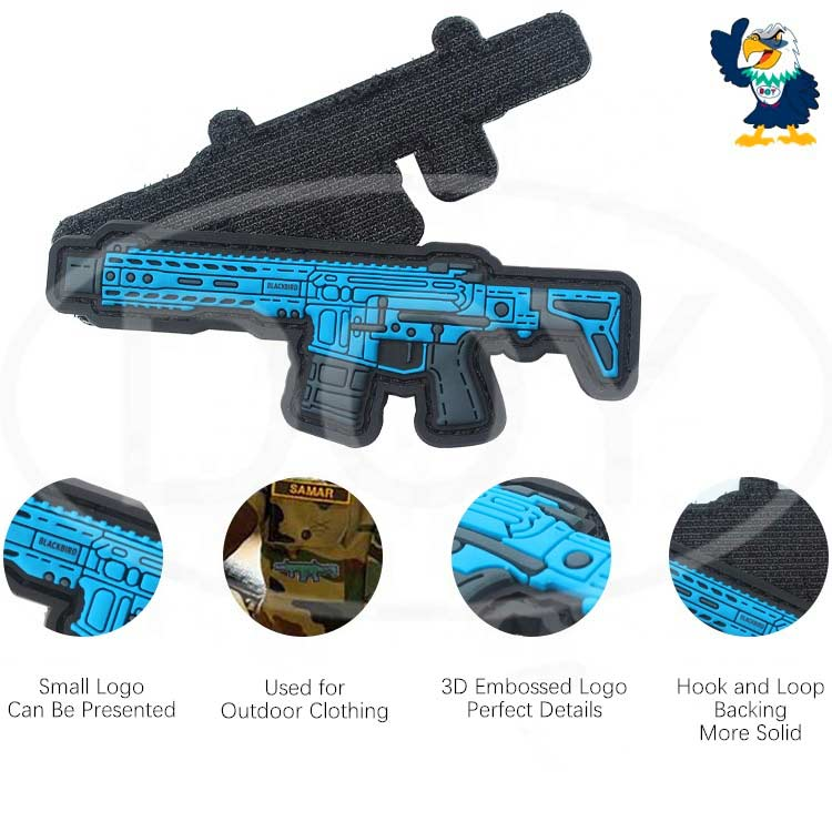Hook & Loop Backing Custom 3D Gun Logo Soft PVC Rubber Moral Tactical Patches for Amy Military Uniform Clothing