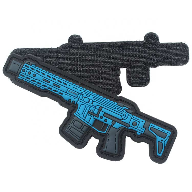 New Design PVC Amy Labels Wholesale Custom Gun Logo Morale Military Rubber Tactical Patches with Stitching Channel