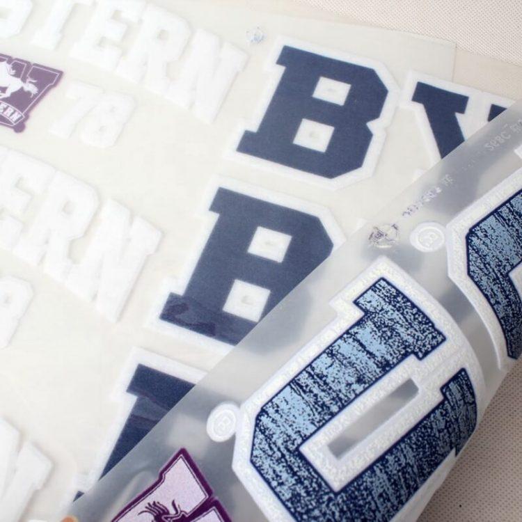 Wholesale New Design High Quality Custom Brand Letter Name Logo Flock Sheets Heat Transfer Printing
