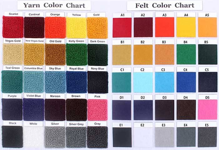 Chenille Patches Color Chart