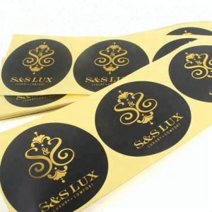 Custom Die Cut Adhesive Paper Stickers Labels with Shiny Gold Foil Printed