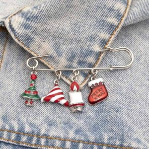 Hot Sale Fashion Crystal Christmas Lapel Pins and Cute Broosh for Jacket Suit