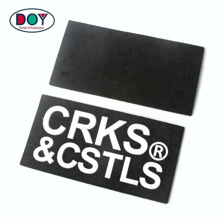 Cheap Custom Injection Embossed Silicone Felt Cloth Patches Labels with 3D Letter Logo for Clothing (4)