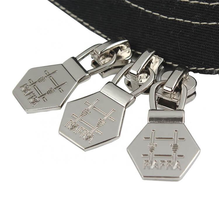 Clothing Accessories Maker Design Custom Debossed Brand Logo Zipper Puller Metal Slider for Overcoat
