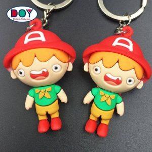 Custom 3D Cute Cartoon Logo Key Tag Soft PVC Rubber Keychain