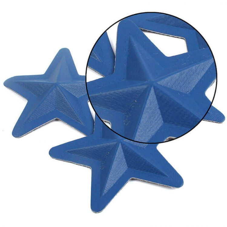 Custom 3D Design Embossed Star PU Leather Label Patches