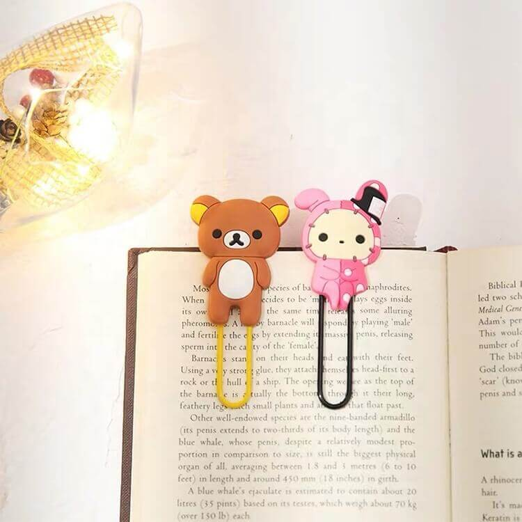 Custom 3D Soft PVC Cute Book Cartoon Clips for Office Supplies