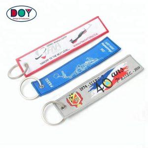 Promotional Custom Brand Name Logo Woven Keychains