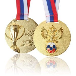 Custom Gold Plated 3d Logo Sport Event Award Medal with Sublimation Ribbon Lanyard