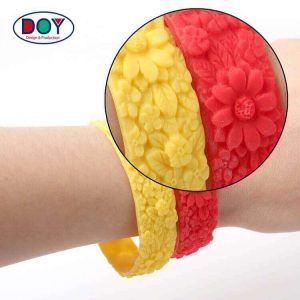 Custom 3d Flower Engraved Logo Rubber Silicone Wristband Braceland for