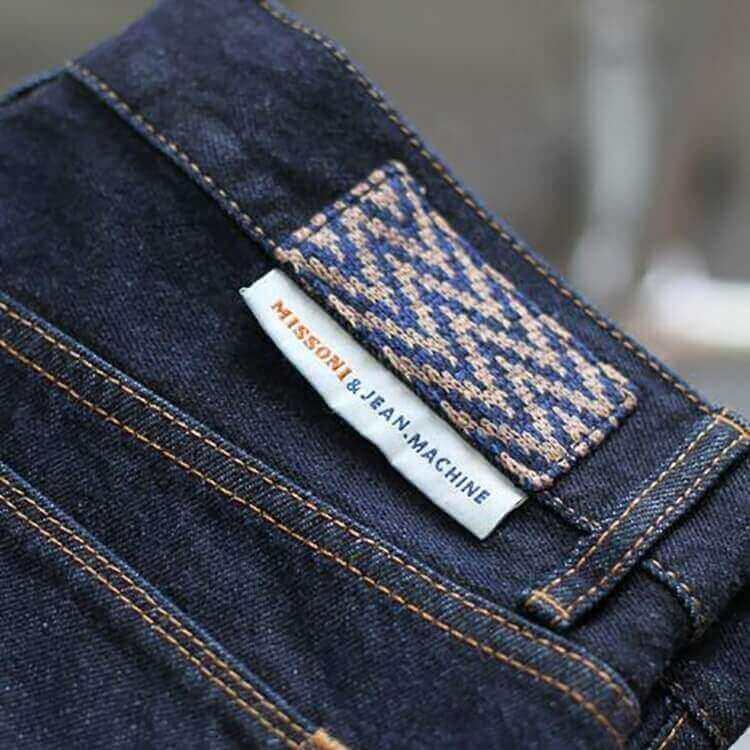 Custom Name Logo Damask Garment Woven Labels for Denim Hem