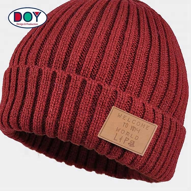 Custom PU leather patch labels for Knit hats