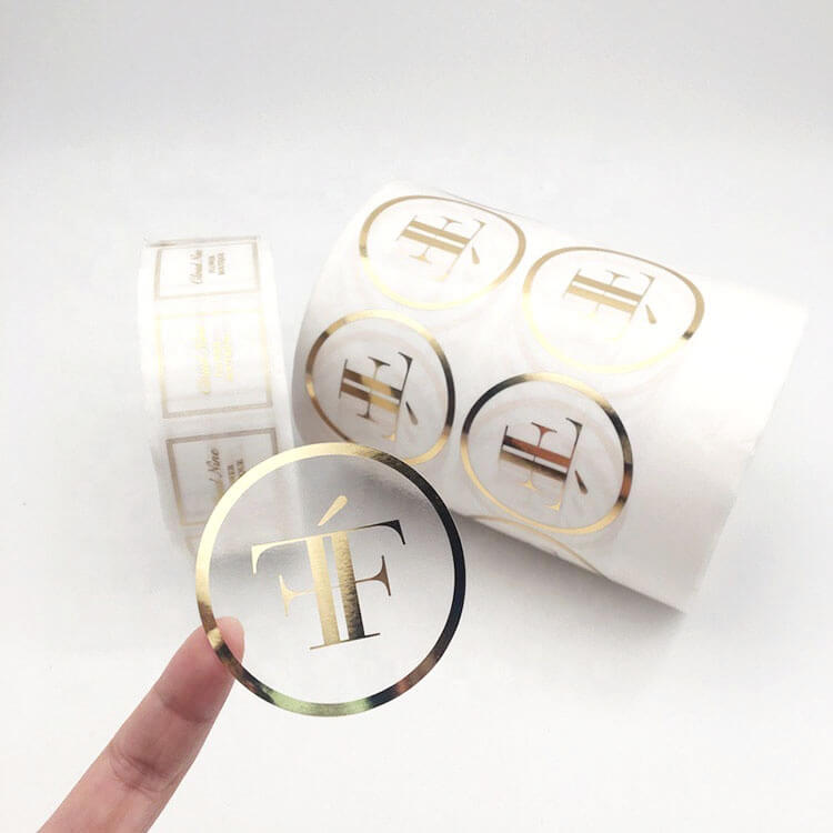 Custom Printed Logo Self Adhesive Gold Foil Label Stickers Transparent for Gift Packing