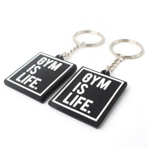 Double Embossed Design Raised Name Logo Soft Rubber Keychain