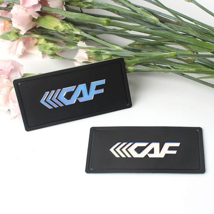 Customized 3D Embossed Letters Logo Adhesive Labels Soft PVC Rubber Patches