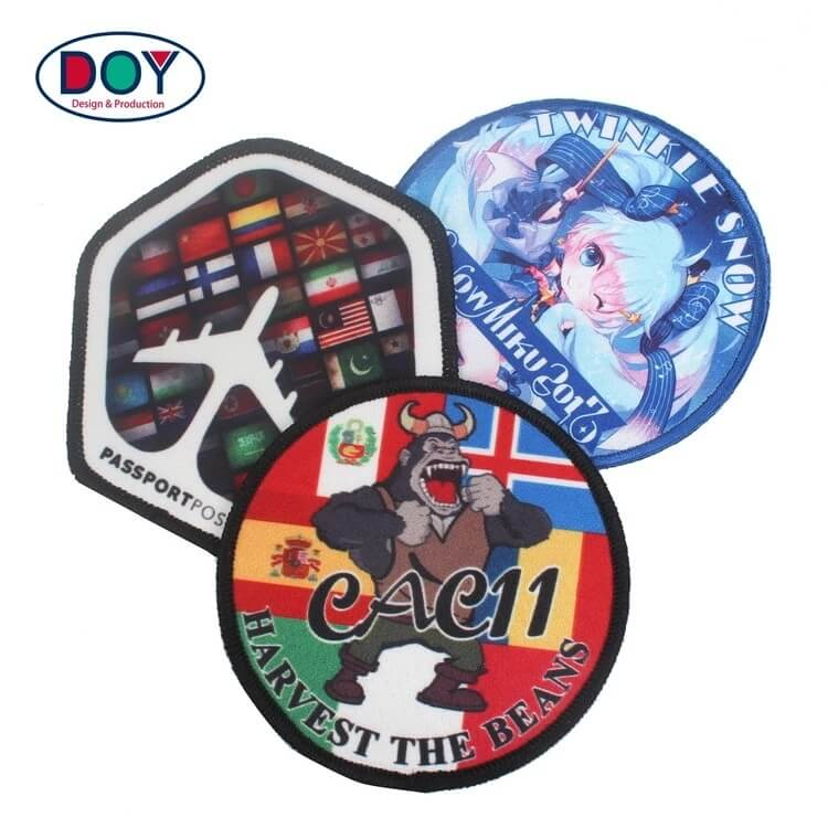 Embroidered Border Custom Anime Cartoon Logo Sublimation Heat Transfer Printing Patches for Clothing