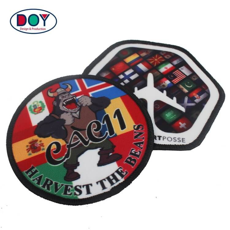 Embroidered Border Custom Cartoon Dye Sublimation Heat Transfer Printing Patches Labels for Bag