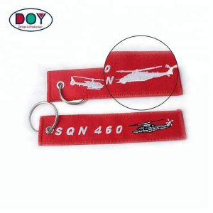Wholesale Custom Logo Airplane Embroidered Keychain for Remove Before Flight