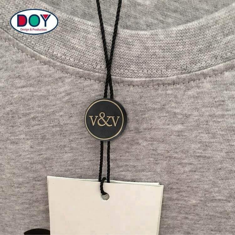 Factory Custom Brand Logo Nylon Hang Tag Seal Plastic String Tag For Clothing