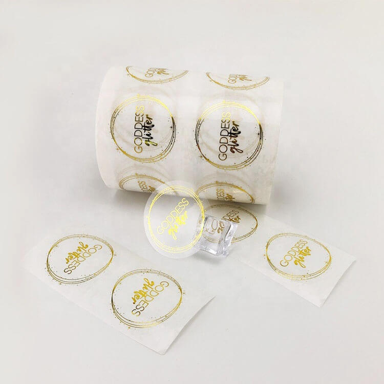 Fashion Design Custom Hot Stamping Gold Foil Clear Logo Sticker Transparent Labels for Promotion