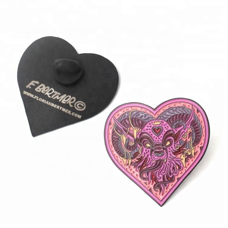 Free Sample Lapel Pins Brooch Supplier Wedding Soft Metal Badges Enamel Pins with Design Custom Heart Logo