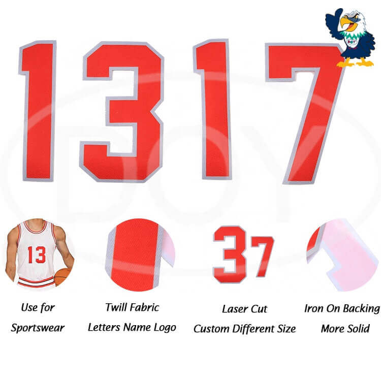 Heat transfer Stickers Manufacturer Custom Number Letter Logo Iron On Patches for Clothing