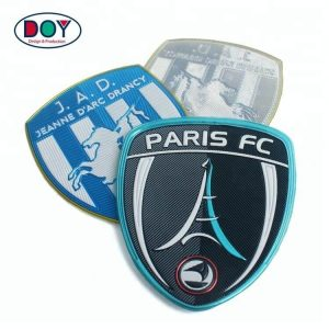 Hot Custom Embossed Logo Silver Plating High Frequency TPU Patches For Uniforms
