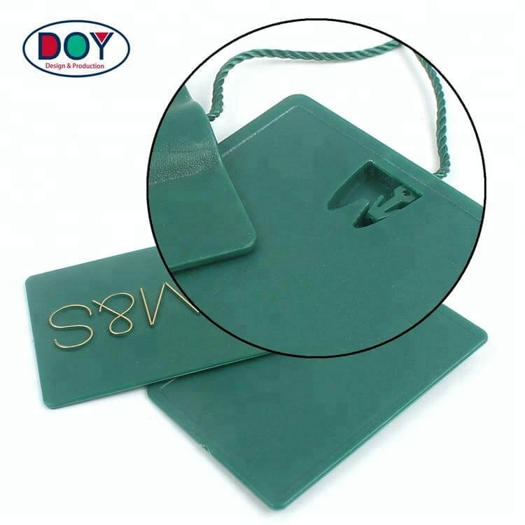 High Quality New Design Custom 3D Embossed Brand Name Logo Plastic Hang Tag Seal String for Clothing