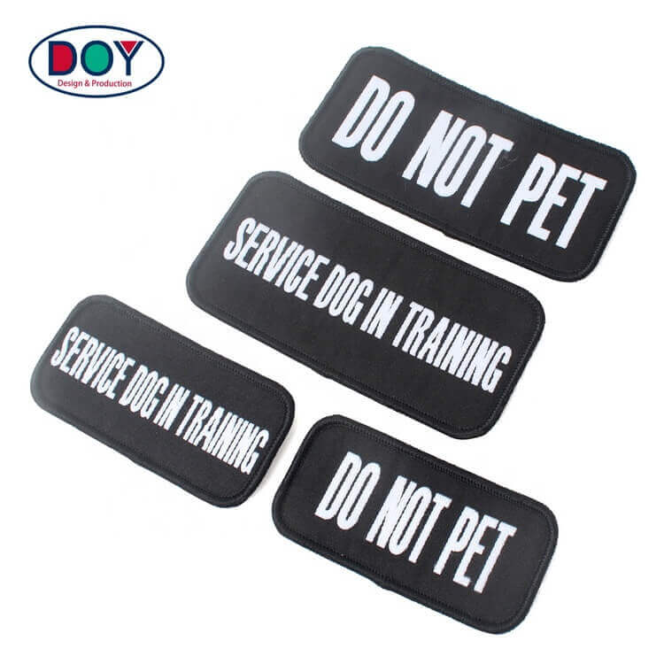 Hook and Loop Adhesive Badges Factory Custom Service Dog Name Logo Woven Patches for Pets Clothing
