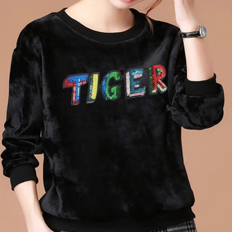 Hot Sale Wholesale Custom Sequin Tiger Applique Patches For Clothing Or Backpack