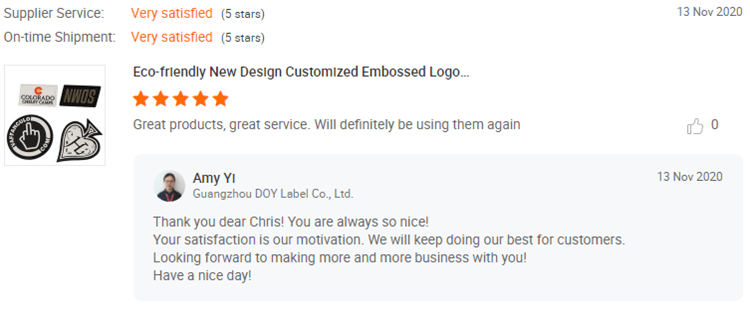 Rubber Patches Customer Reviews-DOYLabel