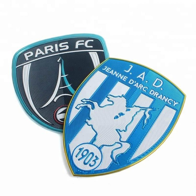 Iron On Custom Embossed 3D Logo Name Silver Plating High Frequency TPU Patches Labels for Uniforms (1)