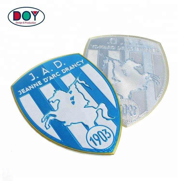 Manufacture Iron On Custom Embossed 3D Logo Name Silver Plating High Frequency TPU Patches Labels for Uniforms (4)