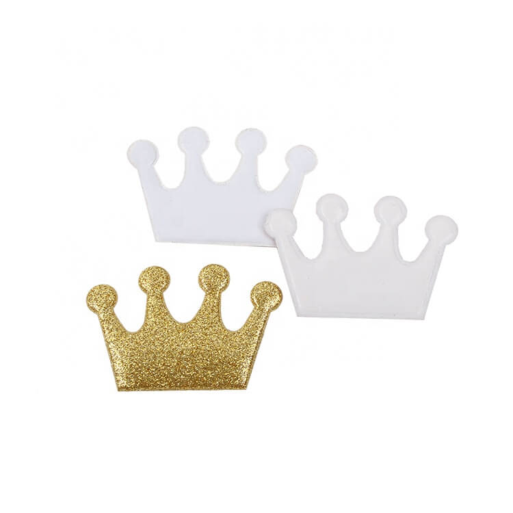 Iron on Customized Glitter Embossed Crown PVC Badges for Chirld Dress