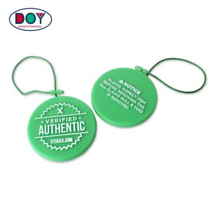 Custom 3D Embossed Name Logo Plastic Hang Seal Tag String for Shoe and Clothing