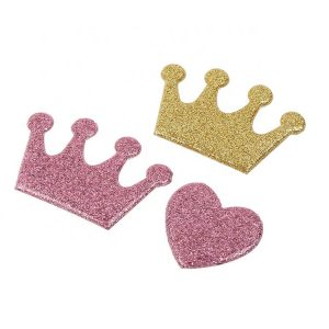 Iron on Customized Glitter Embossed Crown PVC Badges for Kid Dresses Decroration
