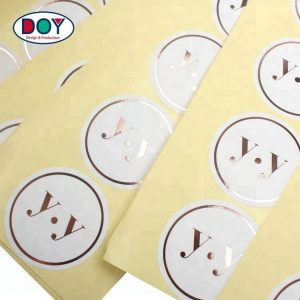 Hot Stamping Rose Gold Foil Printing Adhesive Paper Stickers Labels