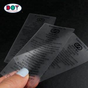 Custom Printed Instruction Logo Clear Semitransparent Soft TPU Washing Swimwear Care Label with Size