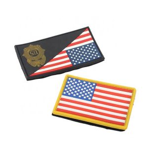 Custom US Army Military Uniform PVC Rubber Badges with Hook and Loop