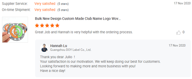 Woven Patches Customer Reviews-DOYLabel