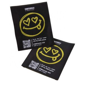 Wholesale Custom Smile Logo Clothing Satin Size Woven Labels for Jacket Garment