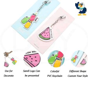 Custom Colorful Fruit Logo Soft PVC Rubber Keychains with Packaging