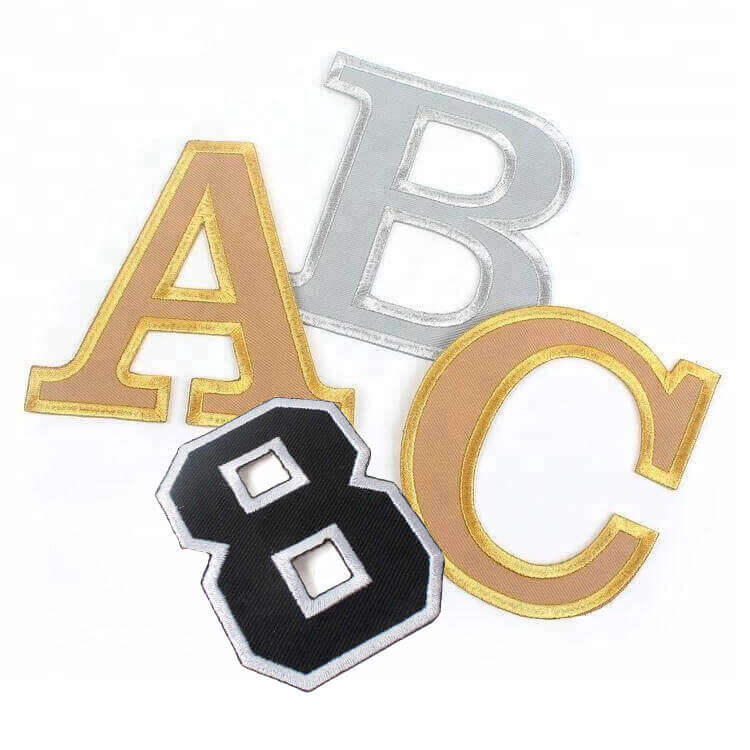 Wholesale Iron On Custom Metallic Thread Embroidered Border Embroidery Letters Patches for T Shirt