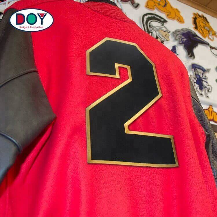 Wholesale Iron On Custom Size Twill Fabric Embroidered Letters and Numbers Patches for Sport Clothes