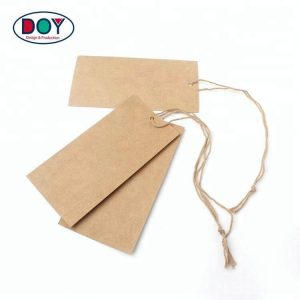 Cheap Design Custom Shape Kraft Paper Blank Hang Tags with Cotton String