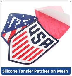 Silicone transfer patches on mesh